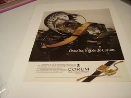 ANCIENNE PUBLICITE  MONTRE CORUM 1980 - Bijoux & Horlogerie
