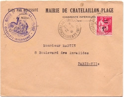 France Lettre Paix Mairie Chatelaillon Plage Charente Inferieure Secretaire Du Marechal Petain - Marcophilie (Lettres)