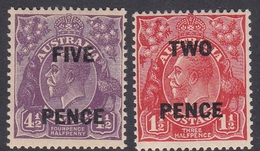 Australia ASC 109-110 1930 Surcharges, Mint Never Hinged - 1913-36 George V: Heads