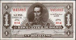 1928 KP 128b EMISION 1951. UN BOLIVIANO. SIN CIRCULAR. - Bolivia