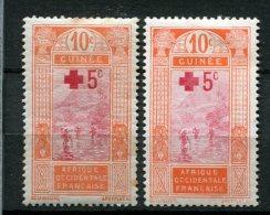 7630  GUINEE  N° 80/80a*   + 5  C S. 10 C  (67) Surchargés Au Profit De La Croix-Rouge  1915  TB - Unused Stamps
