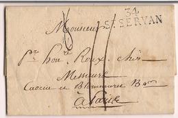 Lettre St Servan 1814 Destination Paris - Marcophilie (Lettres)