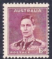 Australia ASC 176 1937-49 King George VI Three Half Pence Maroon P 13.5 X 14, MNH - 1937-52 George VI