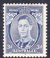 Australia ASC 178 1937-49 King George VI 3d Blue, Die I, Mint Hinged - Mint Stamps
