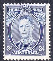 Australia ASC 180 1937-49 King George VI Three Pence Blue, Die II, Mint Hinged - Mint Stamps