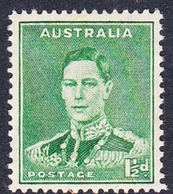 Australia ASC 186  1937-49 King George VI, Three Half Penny Green, Perforated 14x15, Mint Never Hinged - 1937-52 George VI