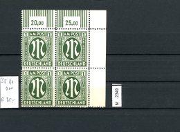AM Post, 35 Bz ON, Xx, Eckrandviererblock Rechts Oben - Bizone