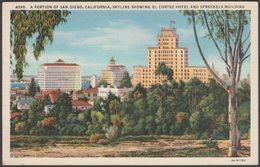 A Portion Of The San Diego Skyline, California, 1933 - Western Publishing & Novelty Co Postcard - San Diego