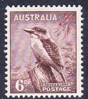 Australia ASC 205 1937-49 King George VI, 6d Kookaburra, No Watermark, Mint Never Hinged - Mint Stamps