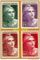 France**LUXE 1945 P 730 à 733 Série 4v, Marianne De Gandon (format 26 X 40) Vf 20 F Et 25 F Et 50 F Et 100 F. - Unused Stamps