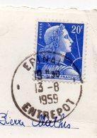 """1959--Beau Cachet """" EPINAL ENTREPOT """" Type Marianne De Muller Sur Carte Postale EPINAL-88 - Marcophilie (Lettres)"""