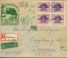 1945, Registered Letter GÖTEBORG To Drammen, Norway With ESPERANTO Imprint And Valutacontroll - Esperanto