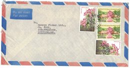 A50   Kenya: Airmail Cover To Switzerland, 1983, Stamps Flowers / Queen Visit - Kenia (1963-...)