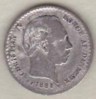 Denmark , 10 Ore 1882 Christian IX , Argent , KM# 795.1 - Danemark