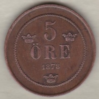 Sweden , 5 Ore 1878  Oscar II , Bronze , KM# 736 - Suède