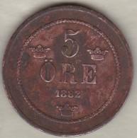 Sweden , 5 Ore 1882/1  , Oscar II , Bronze , KM# 736, Rare - Suède