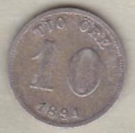 Sweden , 10 Ore 1894 Oscar II , Argent , KM# 755 - Suède