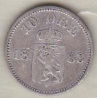Norway  10 Ore 1883 Oscar II , Argent , KM# 350 - Suède