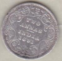 Inde  2 Annas 1891 , Victoria , Argent , KM# 488 - India