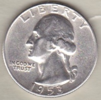 Etats-Unis . Quarter Dollar 1953 S  San Francisco Washington  . Argent - 1932-1998: Washington