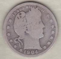 Etats-Unis . Quarter Dollar 1904 .  Barber . Argent - 1892-1916: Barber