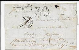 1854 - LETTRE De VALENCE TROUVEE à La BOITE => PARIS ARRIVEE TIMBRE ARRACHE - TAXE De 30 Et REEXPEDIEE à VERSAILLES - Marcophilie (Lettres)