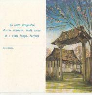 6514FM- PEASANT HOUSE, TELEGRAMME UNUSED, 1974, ROMANIA - Télégraphes