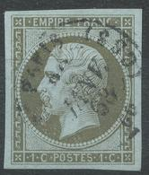 Lot N°43573   Variété/n°11, Oblit Cachet à Date De PARIS CS3 De Janvier 1863, Filet OUEST, Belles Marges, Signé - 1853-1860 Napoléon III