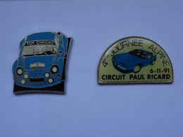 2 Pin's Renault Alpine Top Chrono 4ème Journée Alpine Circuit Paul Ricard 6-11-91 - Renault