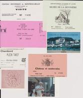 Lot 7 Tickets Hétéroclites Entrées Musées, Châteaux Chambord, Montreuil-By, Amboise, Gizeux ânes, Val De Loire, Valençay - Tickets - Vouchers