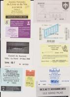 Lot 10 Tickets Hétéroclites Entrées Musées Souvenir, ,Salon Livres, Vin, Maison Ardoise, Paris La Villette, Tourissima - Tickets - Vouchers