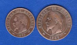 France  2  Pieces  5 Cts  1855 B +10 Cts  1862 A - Unclassified