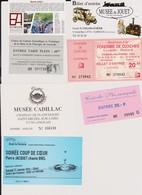 Lot 7 Tickets Hétéroclites Entrées Eco-Musée D'Alsace, Du Jouet, La Mine Lewarde, Auto Cadillac, Fonderie, Soirée Crèche - Tickets - Vouchers