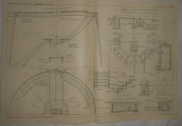 Plan Du Château D'eau D'Ixelles En Belgique. M.M.Léon Monnoyer Et Ses Fils, Constructeurs à Bruxelles. 1909 - Travaux Publics