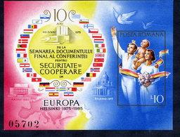 ROMANIA 1985 European Security Organisation 10th Anniversary Block MNH / ** .  Michel Block 215 - Blocks & Sheetlets