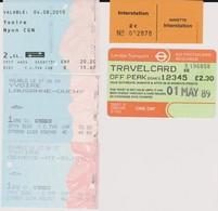 Lot 5 Tickets Hétéroclites Transports Londres 1989, Liaison La Plagne, Ferry Lausanne, Nyon, Mont Blanc 2007 - Tickets - Vouchers