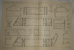 Plan D'une Maison Maternelle, Avenue De Montsouris à Paris. M. M. Charlet Et Perrin, Architectes. 1909 - Travaux Publics