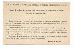 REGIA MARINA ITALIANA - BRANO DI ORDINE DEL GIORNO DOPO LO SGOMBRO DI MONFALCONE E GRADO NV FP - Guerra 1914-18