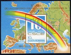 ROMANIA 1982 European Security Conference Block MNH / ** .  Michel Block 190 - Blocks & Sheetlets