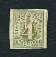 AMBURGO 1859 -Stemma Con Indicazione Del Valore Sovrapposta - 4 S. Verde  - MH - Mi:DE-HH 5 - Hamburg (Amburgo)