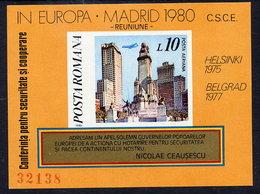 ROMANIA 1980 European Security Conference Block MNH / ** .  Michel Block 175 - Blocks & Sheetlets