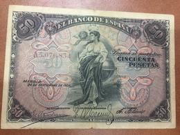 C.R. 50 PESETAS. MADRID 1906. SERIE A. BC+ - [ 1] …-1931 : Primeros Billetes (Banco De España)