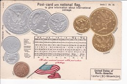 Post-card With National Fag. To Give Information About International Coinage- DOLLAR - U.S.A - Coins (pictures)