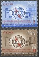 Ceylon. 1965 ITU Centenary. MH Complete Set. SG 505-506 - Sri Lanka (Ceylon) (1948-...)