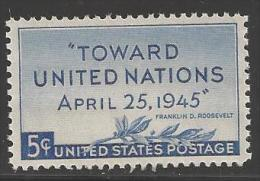 1945 5 Cents United Nations Mint Never Hinged - United States