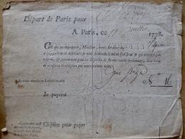 11/07/1778 -De PARIS à REDON 56 - Lettres De Service, Ou Dépêches De Nos Seigneurs Les Ministres Et LETTRES CHARGéES - Documents Historiques