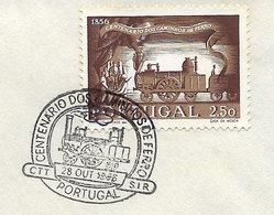 Portugal Centenaire Chemin De Fer 1956 Locomotive A Vapeur FDC Portugal Railroad Centennial Steam Train FDC - Trains