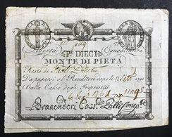 10 Paoli 1798 Repubblica Romana Monte Di Pietà N.C. Forellini E Taglietti  LOTTO 1878 - Italy