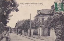 Carrières Sur Seine - Rue Victor Hugo Et Les Villas - Circulé 1924 - Carrières-sur-Seine