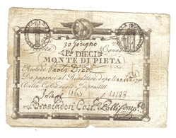 10 Paoli 1798 Repubblica Romana Monte Di Pietà N.C. Foro Centrale E Taglietti  LOTTO 968 - Italy